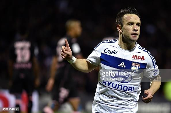 Lyon's French forward Mathieu Valbuena celebrates after scoring a goal during the French L1 football match Olympique Lyonnais vs Toulouse on October...