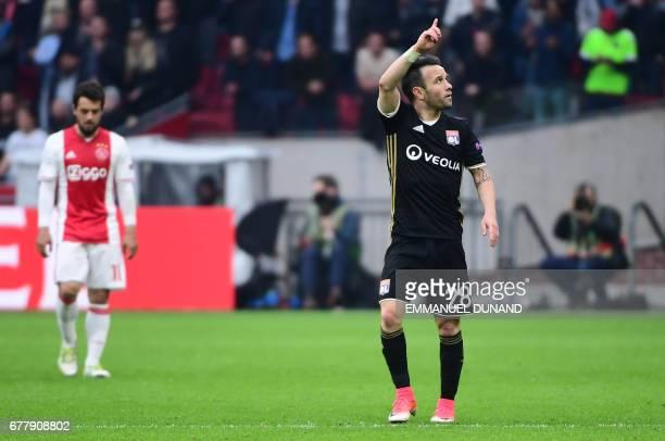 Lyon's French forward Mathieu Valbuena reacts after scoring a goal during UEFA Europa League semifinal first leg Ajax Amsterdam v Olympique Lyonnais...