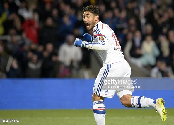 Lyon's French forward Nabil Fekir celebrates after scoring a goal during the French L1 football match Lyon vs Nantes on February 22 at the Gerland...