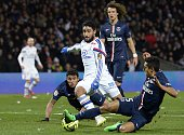 Lyon's French forward Nabil Fekir vies with Paris SaintGermain's Brazilian defender Marquinhos during the French L1 football match Lyon vs Paris...