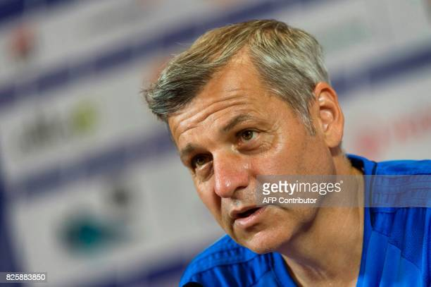 Lyon's French head coach Bruno Genesio attends a press conference to present the team's new captain on August 3 2017 at the Parc Olympique Lyonnais...