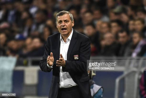 Lyon's French head coach Bruno Genesio gestures during the French L1 football match between Lyon and Nice on May 20 at the Parc Olympique Lyonnais...