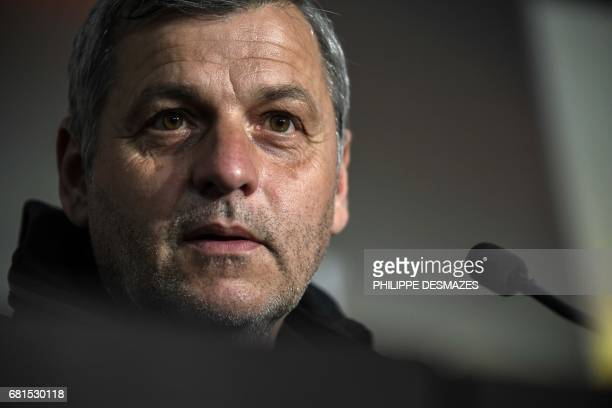 Lyon's French head coach Bruno Genesio gives a press conference on the eve of the Europa League football match Olympique Lyonnais against AFC Ajax...