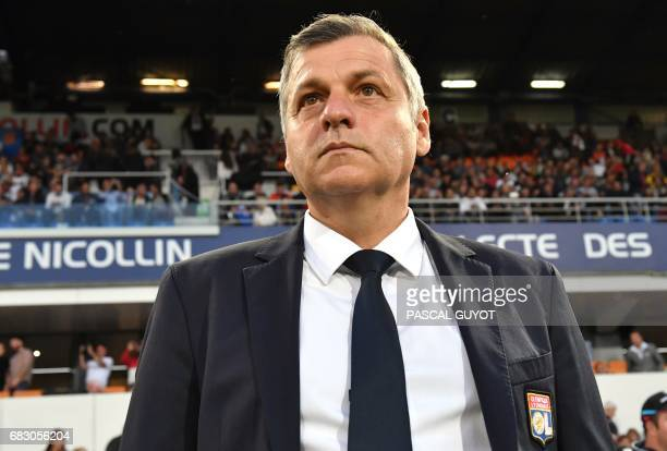 Lyon's French head coach Bruno Genesio looks on before the French L1 football match between Montpellier and Lyon on May 14 2017 at the la Mosson...