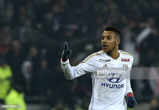 Lyon's French midfielder Corentin Tolisso celebrates after scoring a goal during the French L1 football match Olympique Lyonnais vs Olympique de...