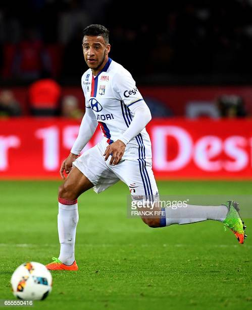 Lyon's French midfielder Corentin Tolisso eyes the ball during the French L1 football match between Paris SaintGermain and Olympique Lyonnais at the...