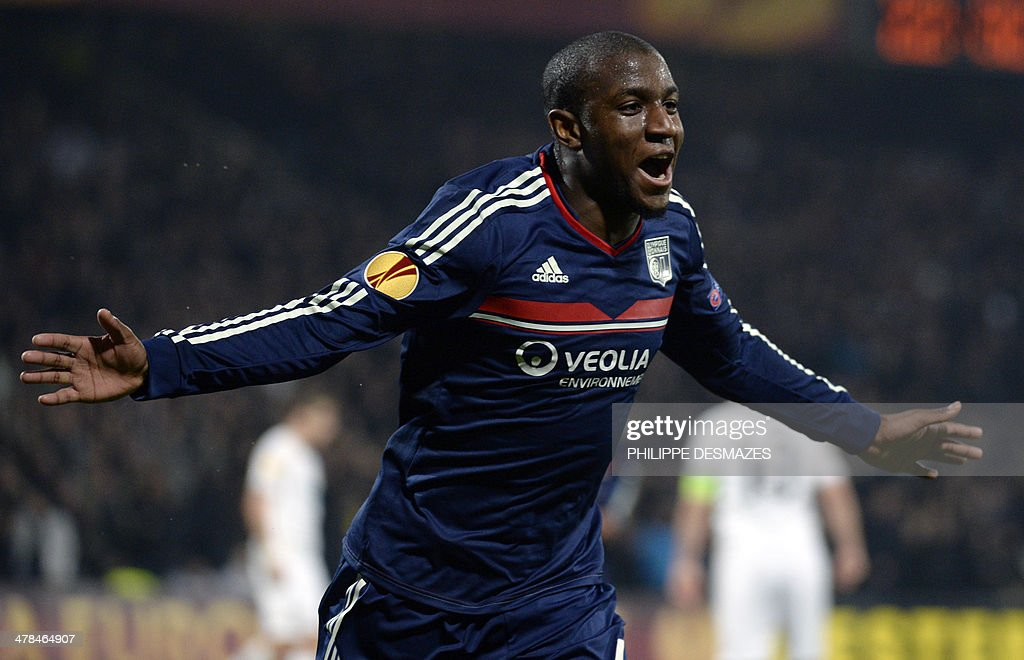 Lyon's French midfielder <a gi-track='captionPersonalityLinkClicked' href=/galleries/search?phrase=Gueida+Fofana&family=editorial&specificpeople=4309091 ng-click='$event.stopPropagation()'>Gueida Fofana</a> reacts after scoring a goal during the Europa League football match between Olympique Lyonnais and FC Viktoria Plzen, at the Gerland stadium in Lyon, southeastern France, on March 13, 2014.