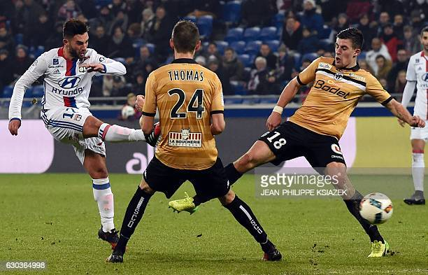 Lyon's French midfielder Jordan Ferri kicks the ball during the French L1 football match between Lyon and Angers on December 21 2016 at the Parc...