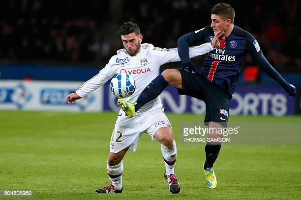 Lyon's French midfielder Jordan Ferri vies with Paris SaintGermain's Italian midfielder Marco Verratti during the French League Cup quarter final...