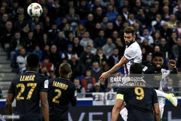 Lyon's French midfielder Lucas Tousart scores a goal during the French L1 football match between Olympique Lyonnais and AS Monaco on April 23 at the...