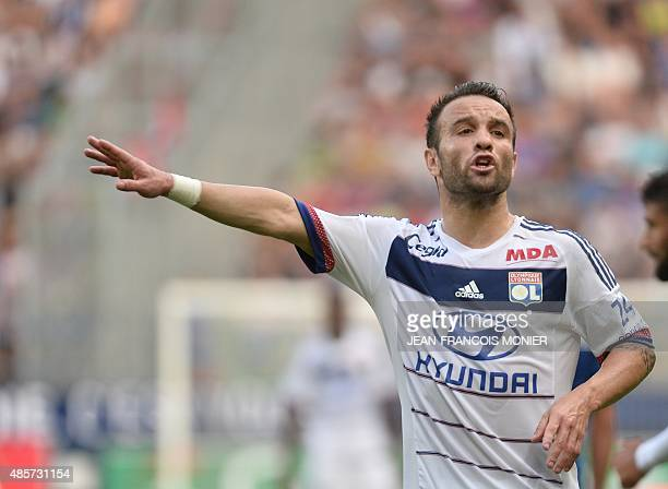 Lyon's French midfielder Mathieu Valbuena gestures during the French L1 football match between Caen and Olympique Lyonnais on August 29 at the Michel...