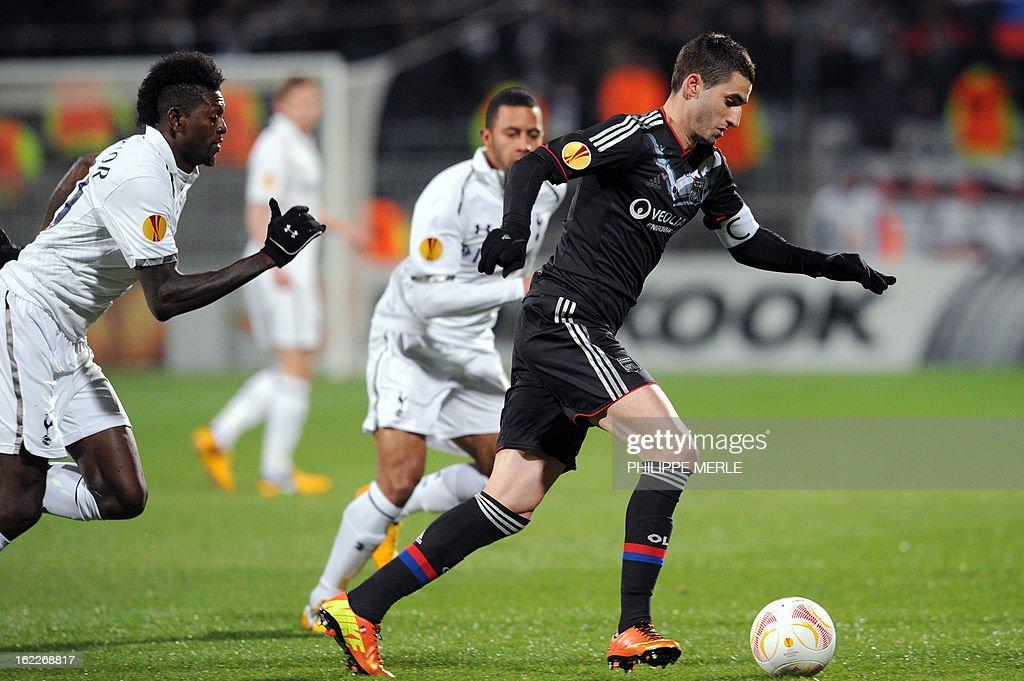 Lyon's French midfielder Maxime Gonalons (R) vies with Tottenham's Togolese forwad Emmanuel Adebayor during their UEFA Europa League football match Olympique Lyonnais Vs Tottenham Hotspurs on Febuary 20, 2013 at the Gerland stadium in Lyon Eastern France.