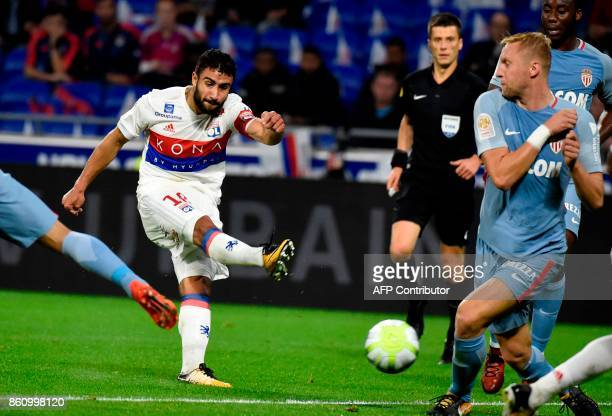 Lyon's French midfielder Nabil Fekir kicks the ball during the French L1 football match Lyon vs Monaco on October 13 2017 at the Groupama stadium in...