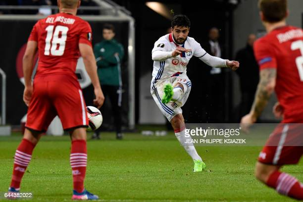 TOPSHOT Lyon's French midfielder Nabil Fekir kicks the ball during the UEFA Europa League football match between Olympique Lyonnais and AZ Alkmaar on...