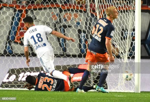 Lyon's French midfielder Nabil Fekir scores a goal during the French L1 football match between Montpellier and Lyon on May 14 2017 at the la Mosson...