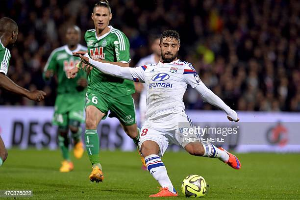 Lyon's French midfielder Nabil Fekir shoots the ball during the French L1 football match between Lyon and SaintEtienne on April 19 2015 at the...