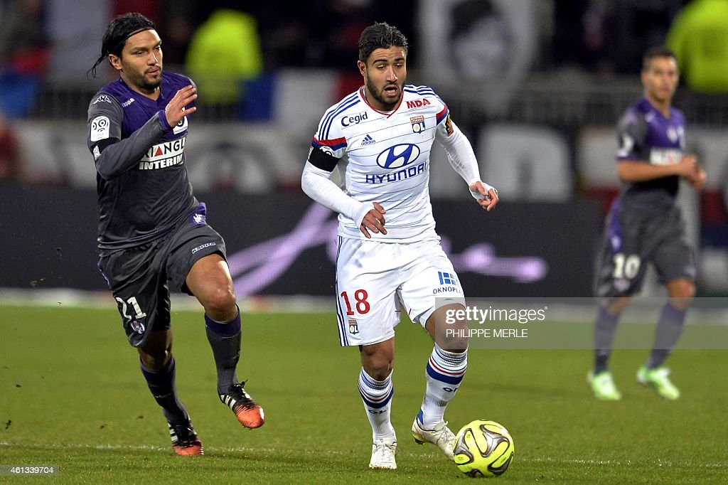 Lyon's French midfielder Nabil Fekir (L) vies for the ball with Toulouse's Colombian midfielder <a gi-track='captionPersonalityLinkClicked' href=/galleries/search?phrase=Abel+Aguilar&family=editorial&specificpeople=2309935 ng-click='$event.stopPropagation()'>Abel Aguilar</a> during the French L1 football match between Lyon (OL) and Toulouse (TFC) on January 11, 2015 at the Gerland stadium in Lyon.