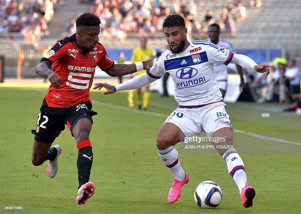 Lyon's French midfielder Nabil Fekir vies with Rennes' French defender Steven Moreira during the French L1 football match between Lyon and Rennes on...