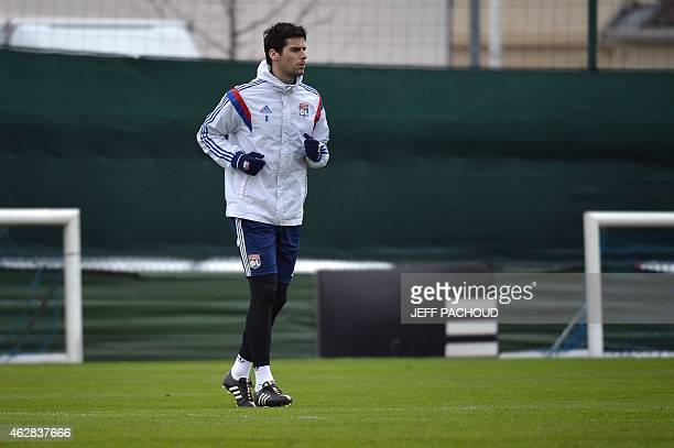 Lyon's French midfielder Yoann Gourcuff takes part in a training session on February 6 at the Tola Vologe training center in Lyon centraleastern...