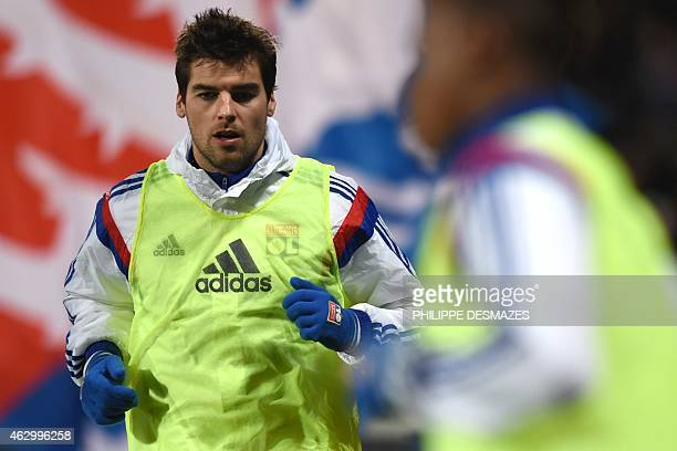 Lyon's French midfielder Yoann Gourcuff warms up before the French L1 football match between Olympique Lyonnais and Paris SaintGermain on February 8...
