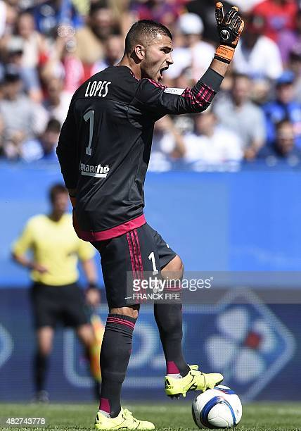 Lyon's French Portuguese goalkeeper Anthony Lopes reacts during the French Trophy of Champions football match against ParisSaintGermain vs Lyon at...