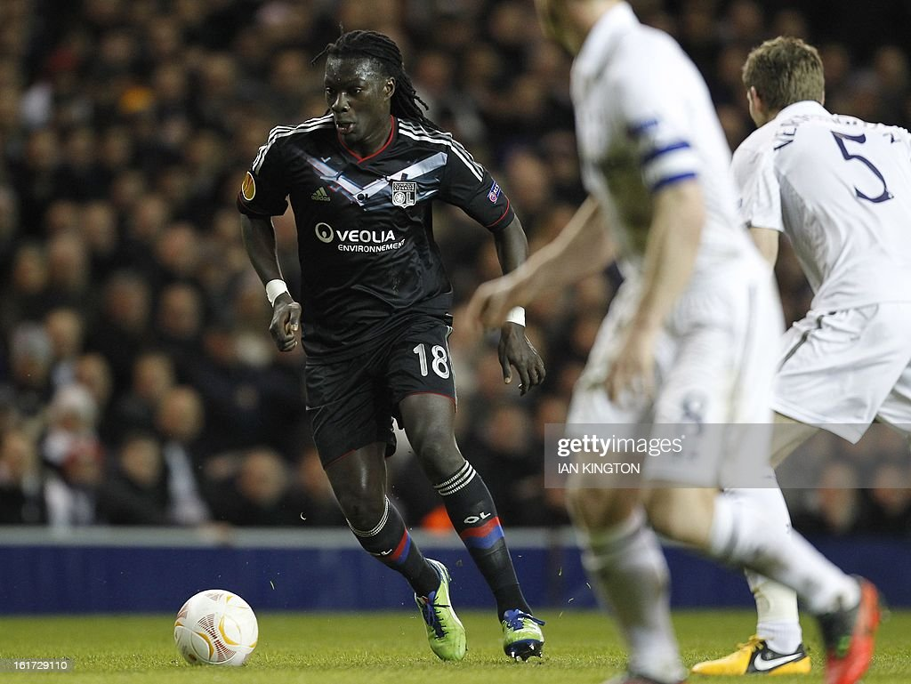 Lyon's French striker Bafetibis Gomis controls the ball during the Europa League Round of 32 football match between Tottenham Hotspur and Lyon at White Hart Lane in London, England, on February 14, 2013. Tottenham Hotspur won 2-1.