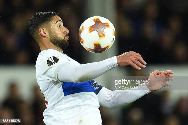 Lyon's French striker Nabil Fekir controls the ball during the UEFA Europa League Group E match between Everton and Lyon at Goodison Park in...