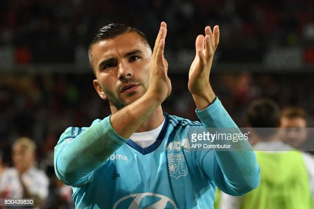 Lyon's FrenchPortuguese goalkeeper Anthony Lopes reacts after the French L1 football match between Stade Rennais and Olympique Lyonnais on August 11...