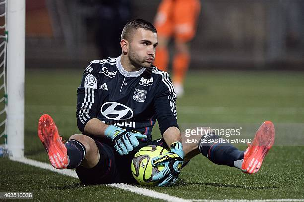 Lyon's FrenchPortuguese goalkeeper Anthony Lopes reacts during the French L1 football match between Lorient and Lyon on February 15 2015 at the...