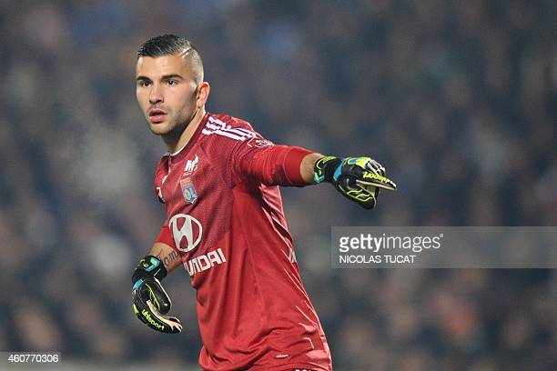 Lyon's goalkeeper Anthony Lopes gestures during the French L1 football match between Girondins de Bordeaux and Lyon on December 21 2014 at the...