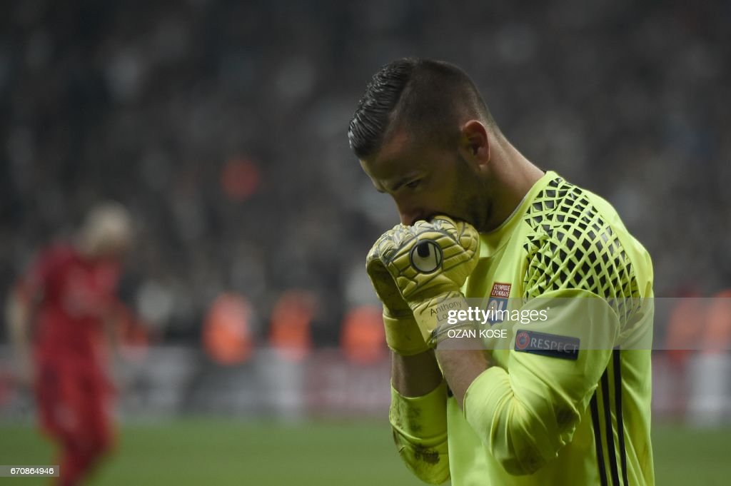 Lyon's goalkeeper Anthony Lopes reacts after saving a penalty at the end of the UEFA Europa League second leg quarter final football match between Besiktas and Lyon (OL) on April 20, 2017, near the Vodafone arena stadium in Istanbul. /