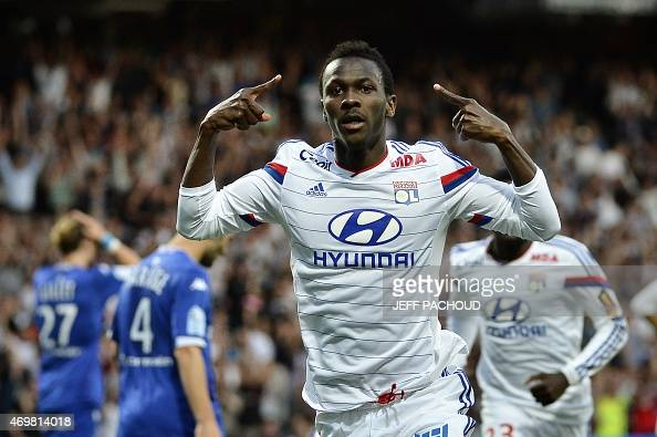 Lyon's Guinean forward Mohamed Yattara celebrates after scoring a goal during the French L1 football match Olympique Lyonnais vs SC Bastia on April...