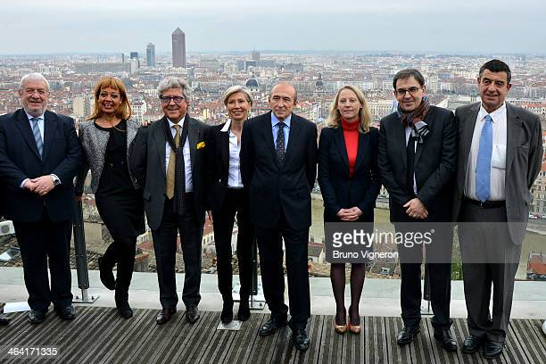 Lyon's mayor and socialist party's candidate for the March 2014 mayoral elections in Lyon Gerard Collomb poses with his candidates during a mayoral...