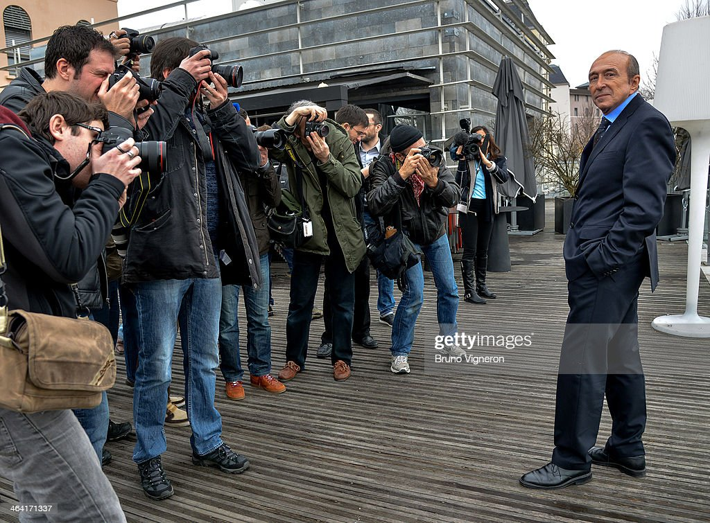 Lyon's Mayor Gerard Collomb Attends A Mayoral Elections Press Conference