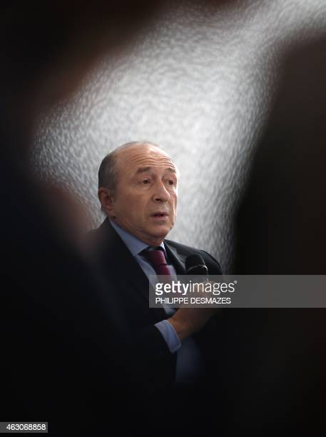 Lyon's mayor Gerard Collomb speaks during a press conference to present the new Lyon Metropolis on February 9 2015 in Lyon southeastern France Since...