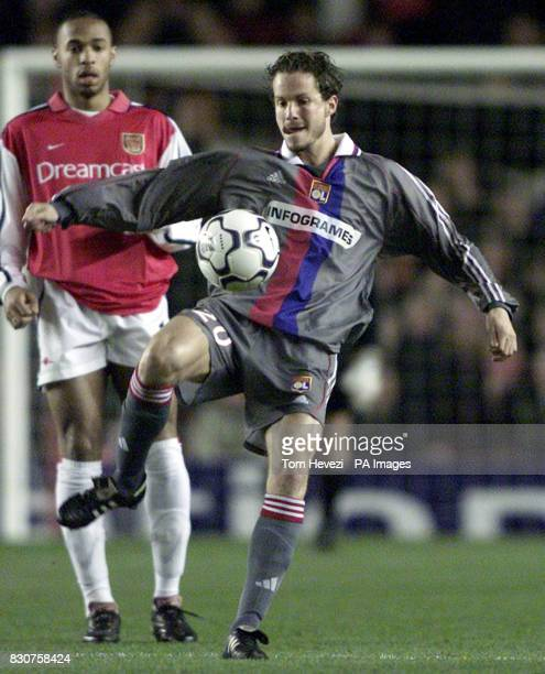Lyon's Patrick Muller during the Champions League match against Arsenal at Highbury Stadium 28/05/04 Switzerland central defender Patrick Muller has...