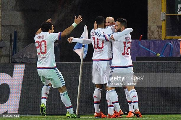 Lyon's players celebrate after a goal during the UEFA Champions League group H football match between FC Zenit and Olympique Lyonnais at the...