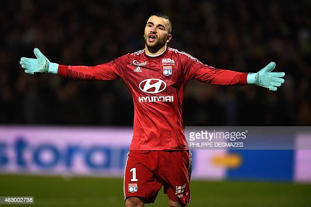 Lyon's Portuguese goalkeeper Anthony Lopes gestures during the French L1 football match Olympique Lyonnais against Paris SaintGermain on February 8...