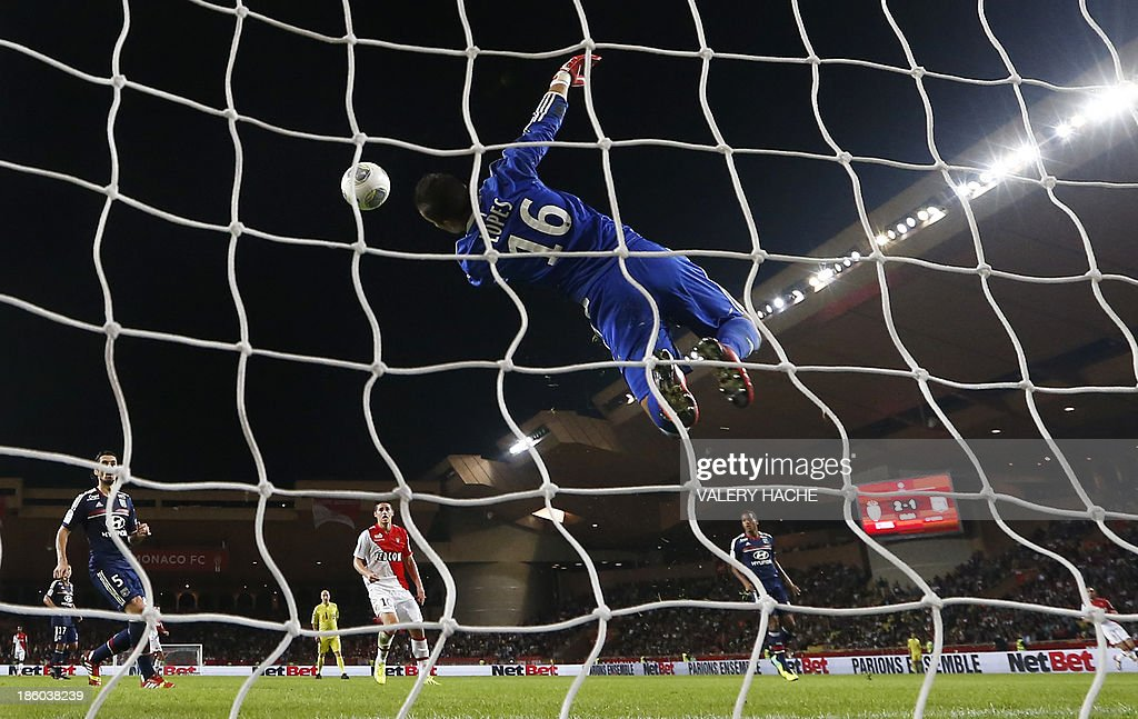 Lyon's Portuguese goalkeeper Anthony Lopes jumps to catch the ball during the French L1 football match Monaco (ASM) vs Lyon (OL) on October 27, 2013 at the Louis II Stadium in Monaco.