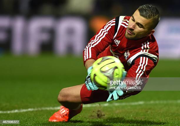 Lyon's Portuguese goalkeeper Anthony Lopes warms up before the the French L1 football match between Olympique Lyonnais and Paris SaintGermain on...
