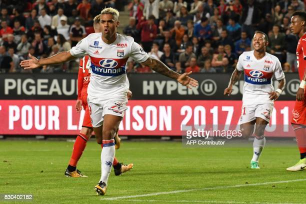 Lyon's Spanish forward Mariano Diaz celebrates after scoring a goal during the French L1 football match between Rennes and Lyon on August 11 at the...