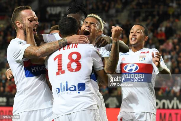 Lyon's Spanish forward Mariano Diaz celebrates after scoring a goal during the French L1 football match between Stade Rennais and Olympique Lyonnais...