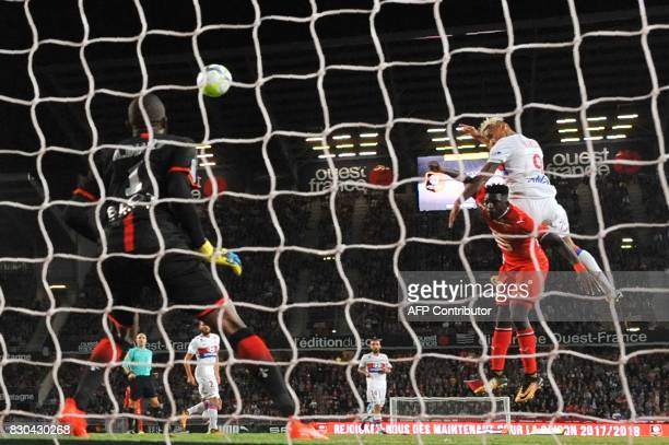 Lyon's Spanish forward Mariano Diaz scores a goal during the French L1 football match between Stade Rennais and Olympique Lyonnais on August 11 at...