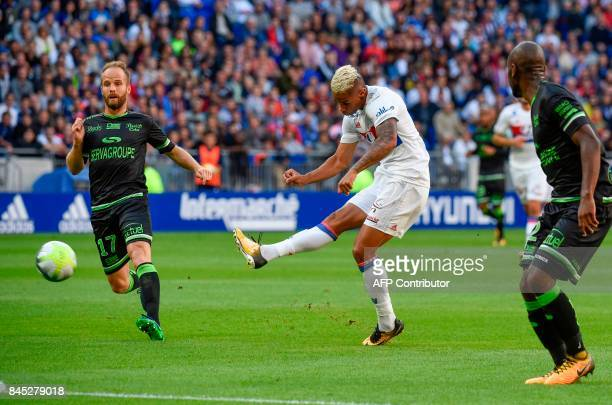 Lyon's Spanish forward Mariano Diaz scores a goal during the French L1 football match Lyon vs Guingamp on September 10 2017 at the Groupama stadium...