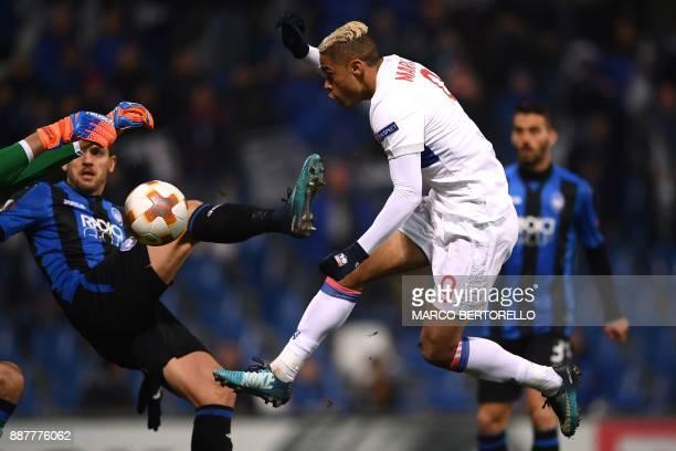 Lyon's Spanish forward Mariano Diaz tries to score during the UEFA Europa League group E football match Atalanta vs Olympique Lyonnais at The Mapei...