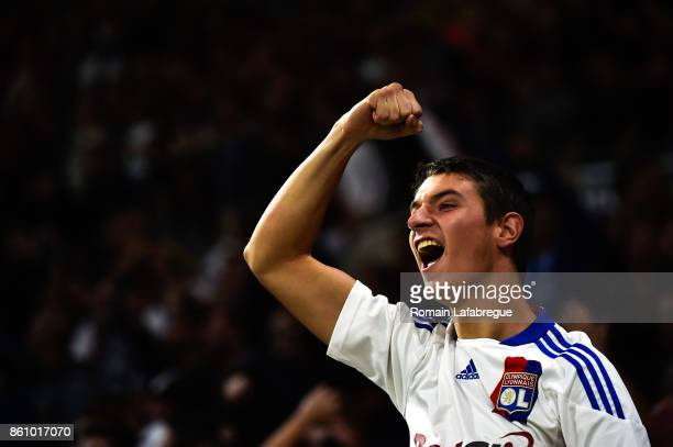 A Lyon's supporter gesture after Nabil Fekir scores during the Ligue 1 match between Olympique Lyonnais and AS Monaco at Stade des Lumieres on...