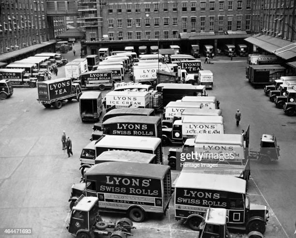 Lyons Vans Cadby Hall West Kensington London A fleet of vans parked in the depot at Cadby Hall Lyons' headquarters in West Kensington The sides of...