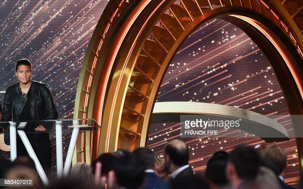 Lyon's women football player Dzsenifer Marozsan delivers a speech after receiving the award for 'best woman player' during the 26th edition of the...