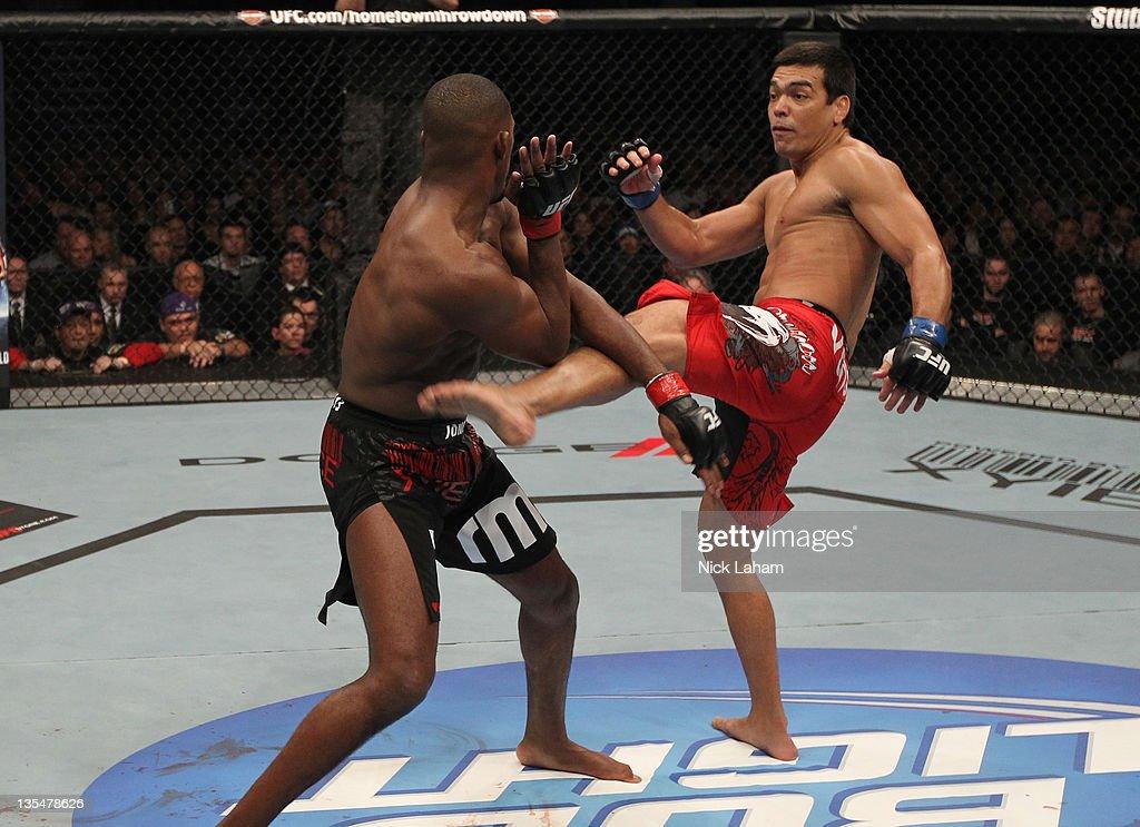 Lyoto Machida kicks Jon 'Bones' Jones during the UFC 140 event at Air Canada Centre on December 10, 2011 in Toronto, Ontario, Canada.