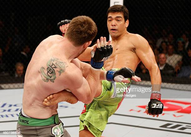 Lyoto Machida of Brazil kicks CB Dollaway of the United States in their middleweight fight during the UFC Fight Night event inside the Ginasio Jose...
